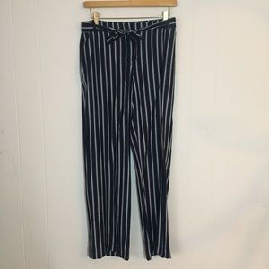 Navy and white striped pants with tie